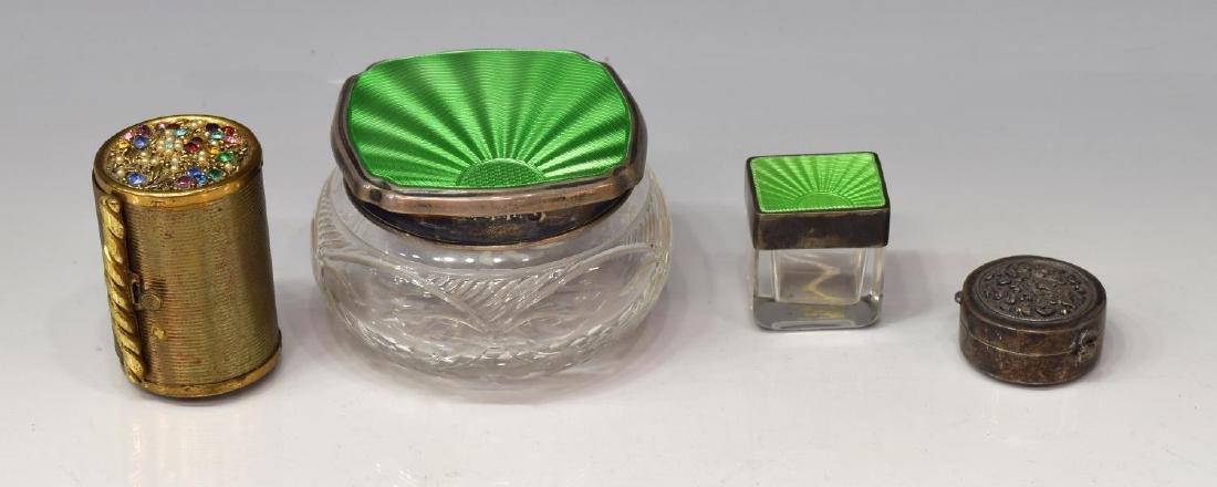 (6) DRESSER/ VANITY BOXES, SILVER GUILLOCHE ENAMEL - 3