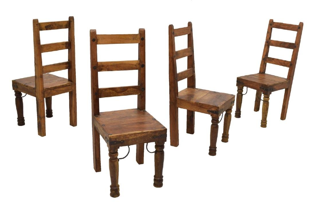 (4) HARDWOOD DINING CHAIRS