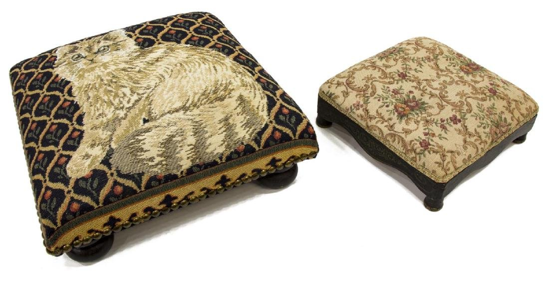 2) ANTIQUE EBONIZED TAPESTRY UPHOLSTERY FOOTSTOOLS