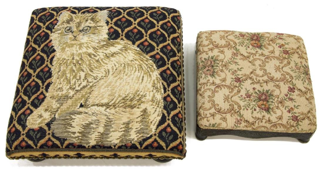 2) ANTIQUE EBONIZED TAPESTRY UPHOLSTERY FOOTSTOOLS - 2