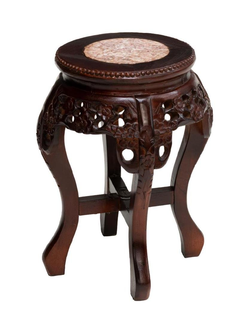 DIMINUTIVE CHINESE ROSEWOOD MARBLE TOP PLANTSTAND