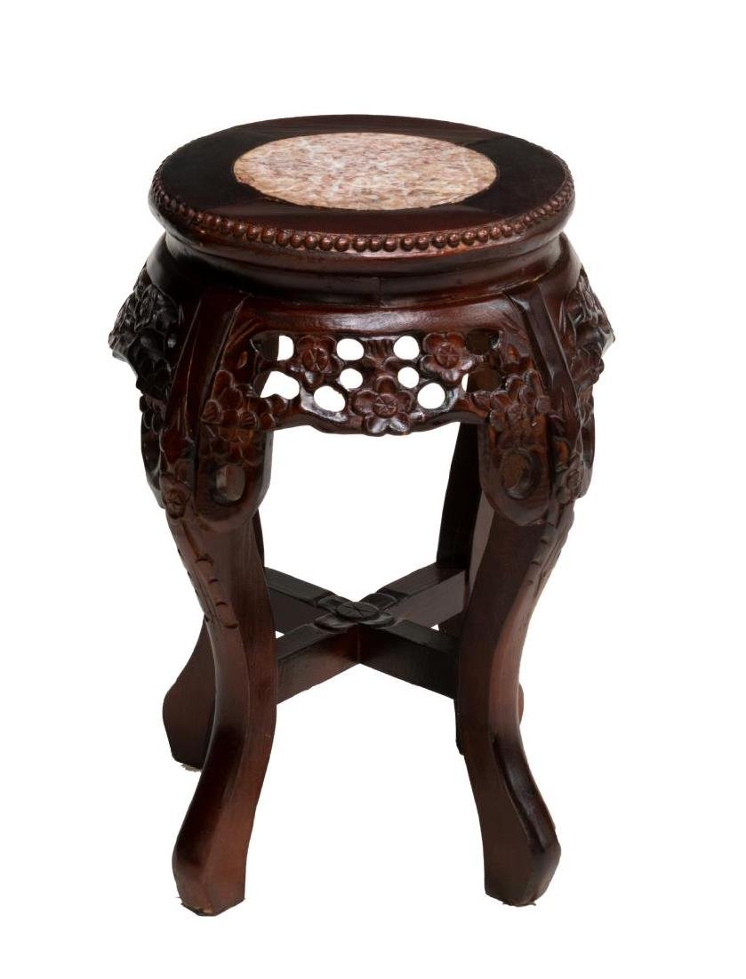 DIMINUTIVE CHINESE ROSEWOOD MARBLE TOP PLANTSTAND - 2