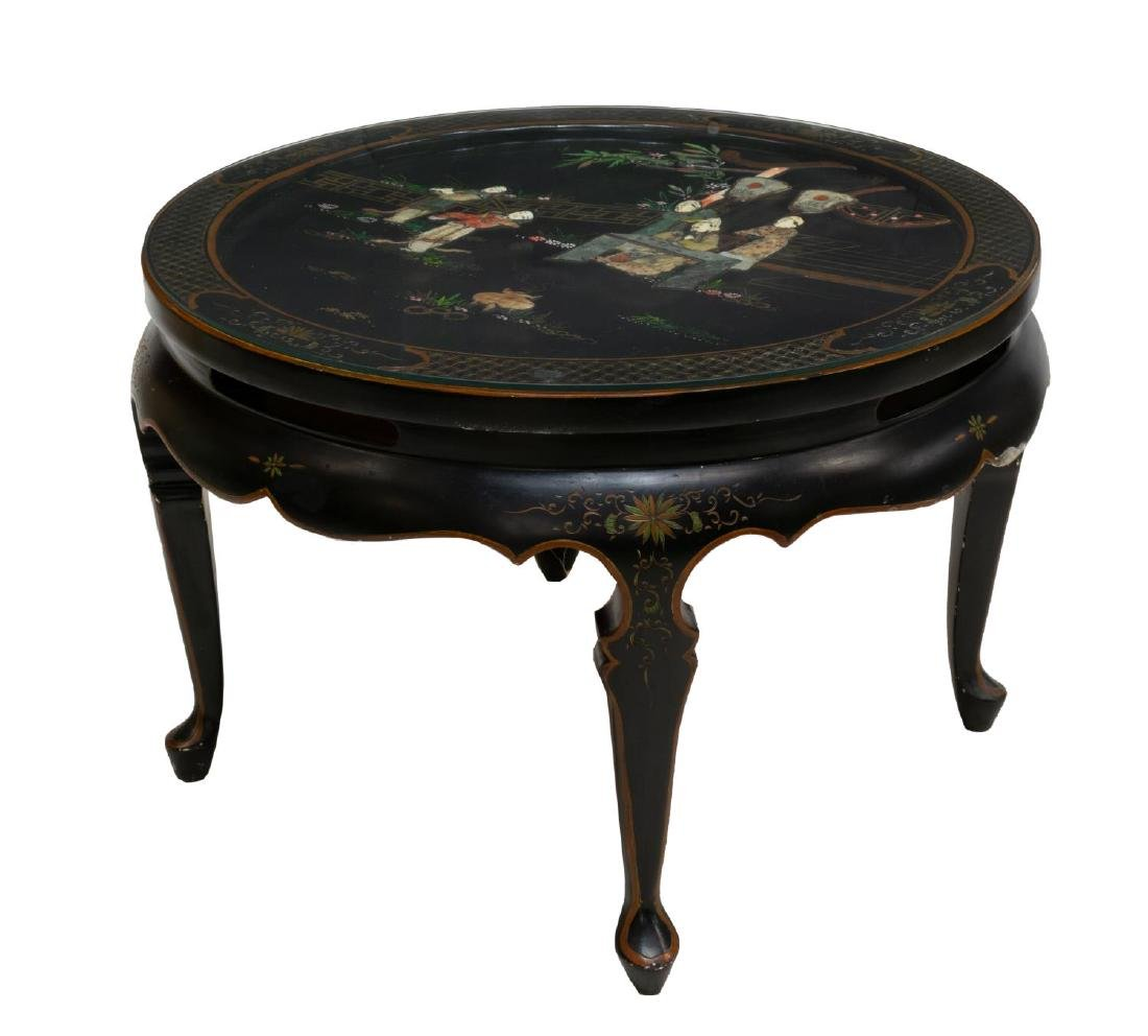 CHINESE BLACK LACQUER HARDSTONE INLAY CENTER TABLE