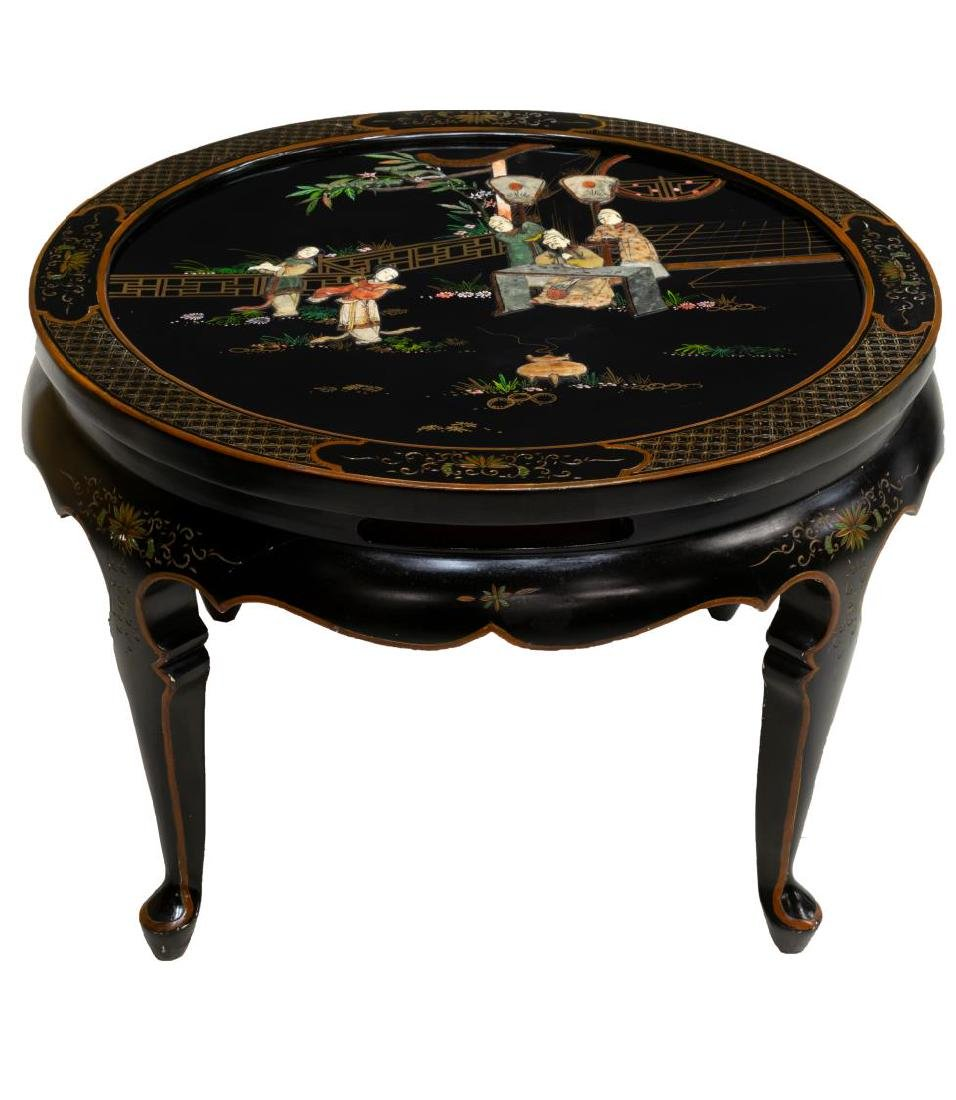 CHINESE BLACK LACQUER HARDSTONE INLAY CENTER TABLE - 2