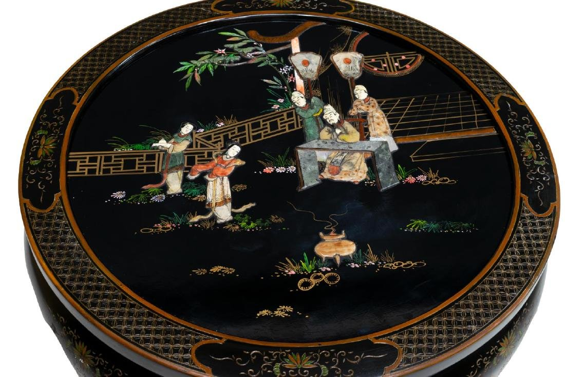 CHINESE BLACK LACQUER HARDSTONE INLAY CENTER TABLE - 3