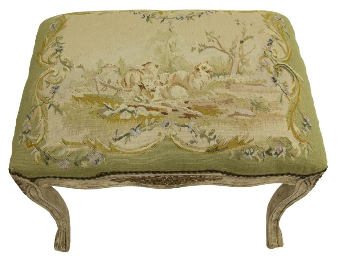 LOUIS XV STYLE TAPESTRY UPHOLSTERED OTTOMAN - 2