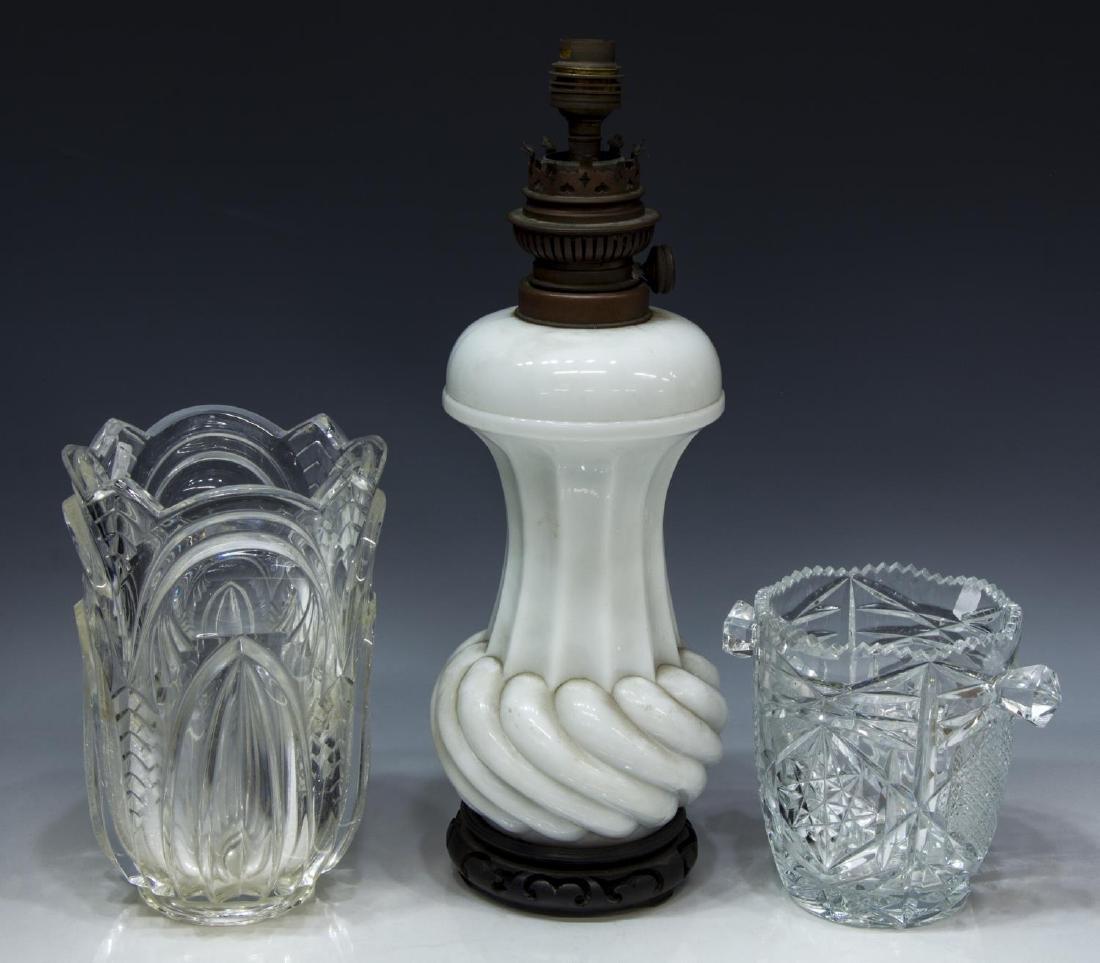 (3) ELECTRIFIED OIL LAMP, CRYSTAL VASE, ICE BUCKET