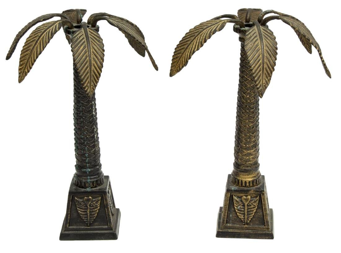 (PAIR) PALM TREE CANDLE HOLDERS