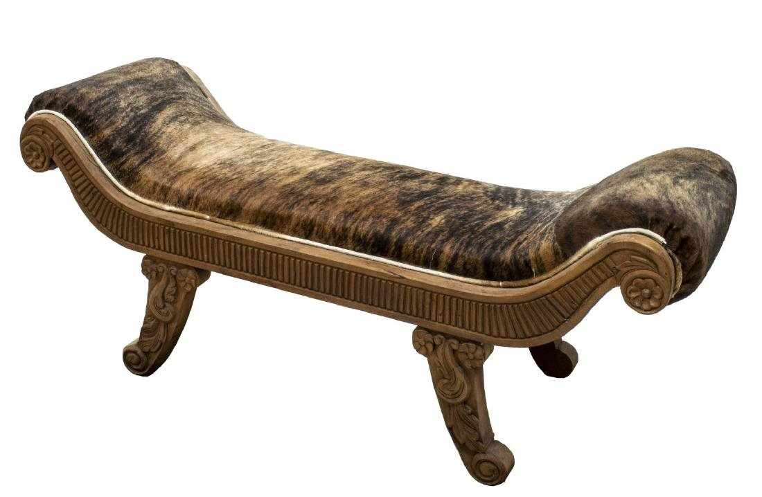 COWHIDE UPHOLSTERED HIGH END BENCH