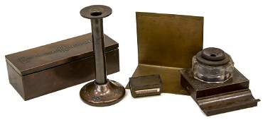 (5) HEINTZ ART METAL SHOP BRONZE DESK ACCESSORIES