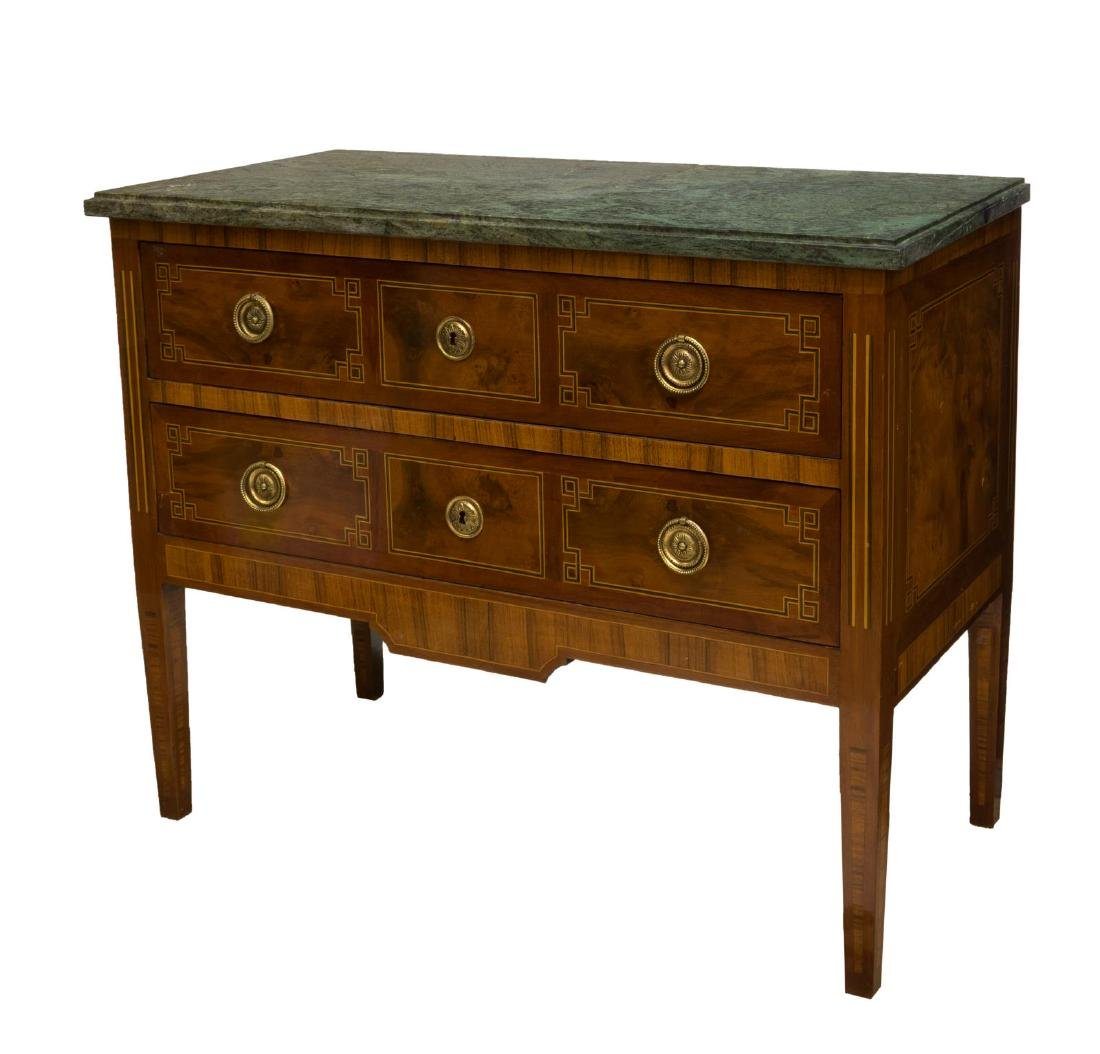 FRENCH LOUIS XVI MARBLE TOP COMMODE