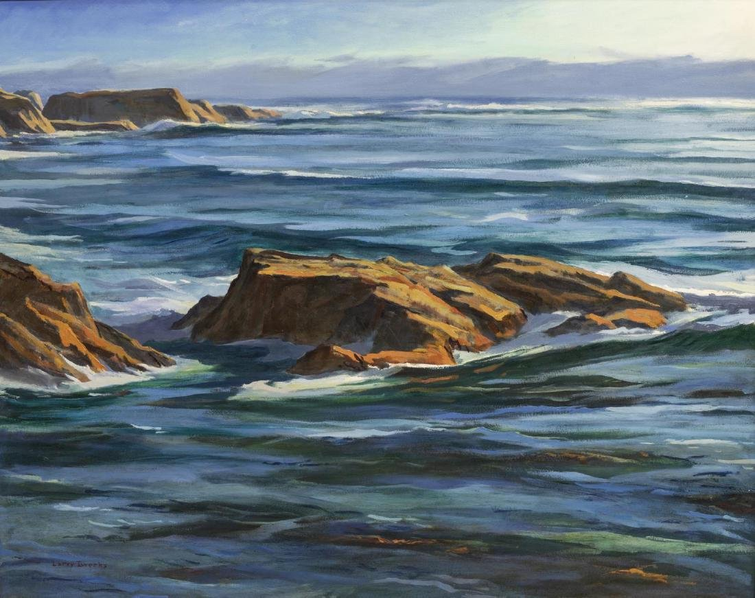 LARRY IWERKS OIL PAINTING OF THE CALIFORNIA COAST