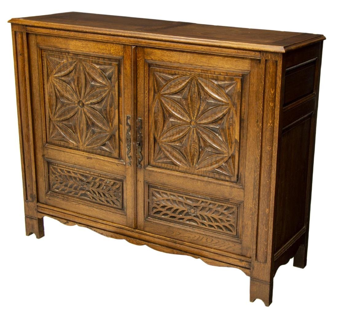 FRENCH MEDIEVAL STYLE CARVED OAK BUFFET