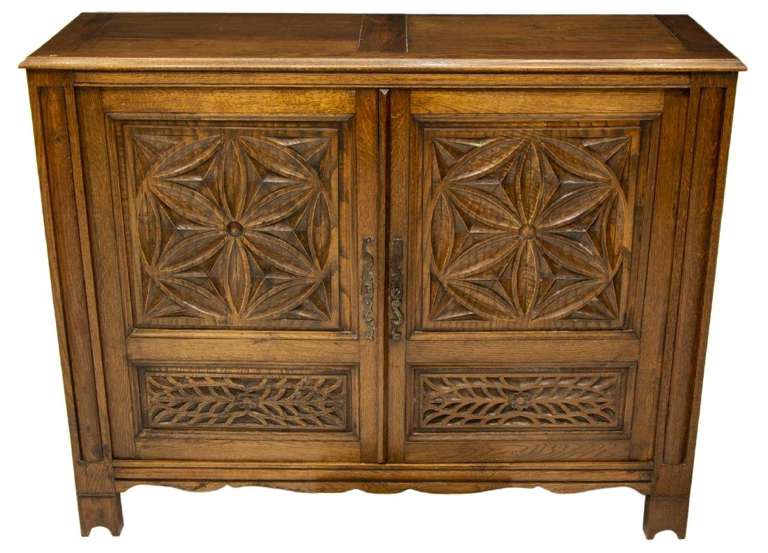FRENCH MEDIEVAL STYLE CARVED OAK BUFFET - 2