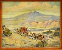 MARJORIE REED (D.1996) STAGECOACH OIL PAINTING