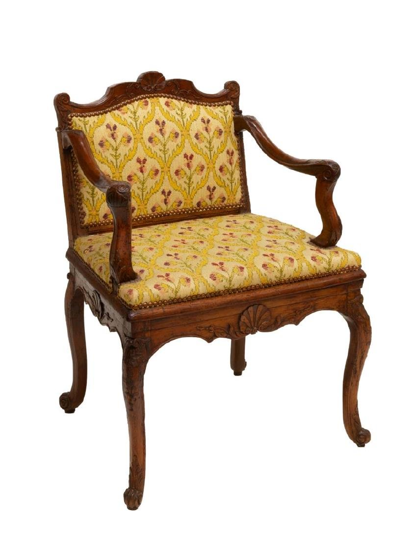 FRENCH LOUIS XV STYLE SHELL CARVED ARM CHAIR