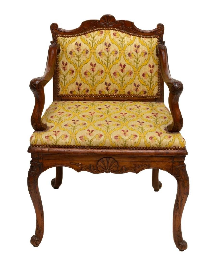 FRENCH LOUIS XV STYLE SHELL CARVED ARM CHAIR - 2