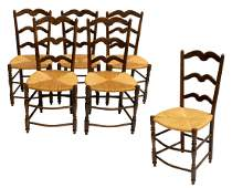 (6) FRENCH PROVINCIAL LADDER BACK RUSH SIDE CHAIRS