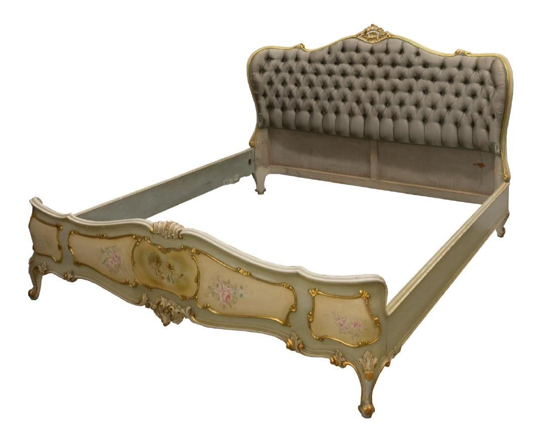 VENETIAN LOUIS XV STYLE GILTWOOD PAINTED BED