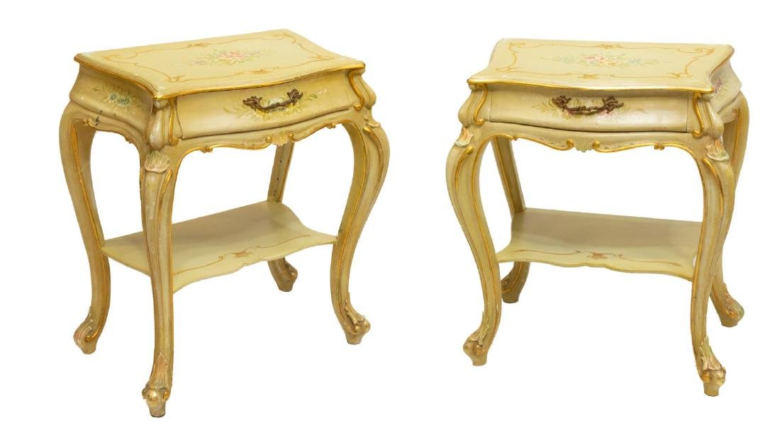 (2) VENETIAN LOUIS XV STYLE PAINTED BEDSIDE TABLES