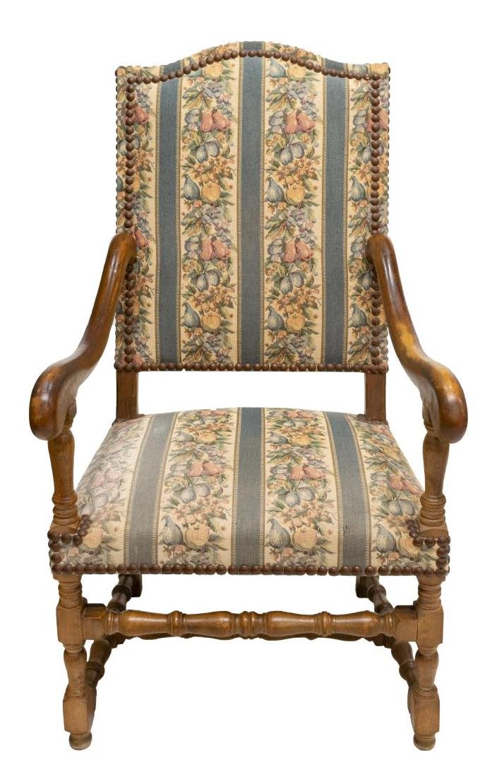 FRENCH LOUIS XIV STYLE UPHOLSTERED ARMCHAIR - 2
