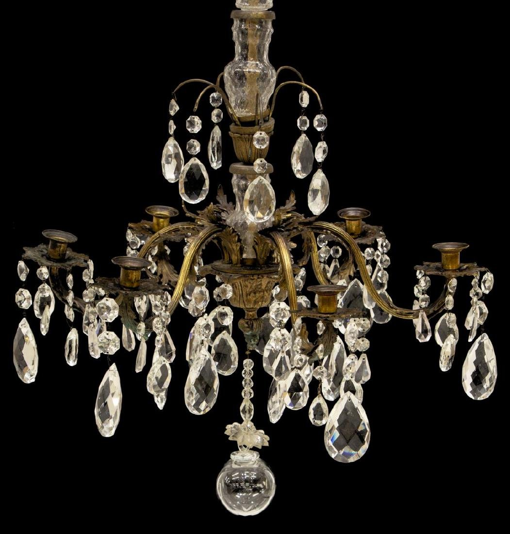 FRENCH SIX-LIGHT PAT. METAL & CRYSTAL CHANDELIER