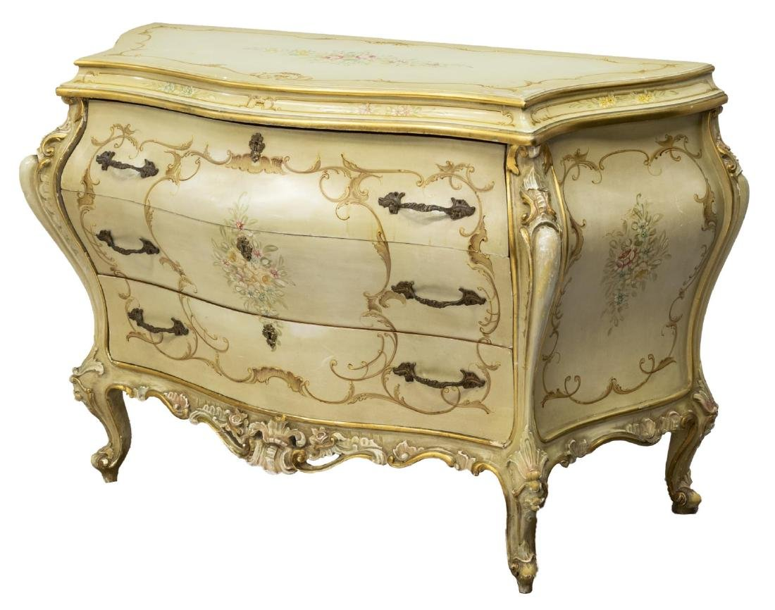 VENETIAN POLYCHROME LOUIS XV STYLE COMMODE