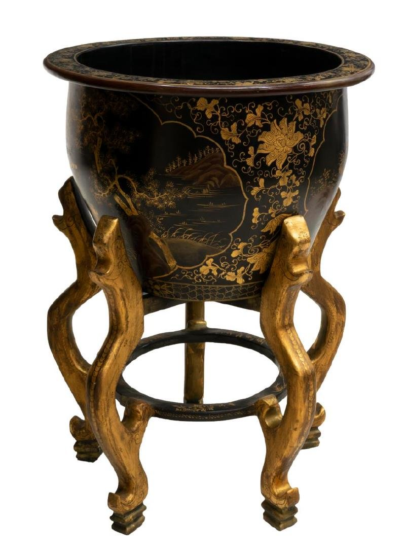 CHINESE BLACK LACQUER CHINOISERIE FISH BOWL