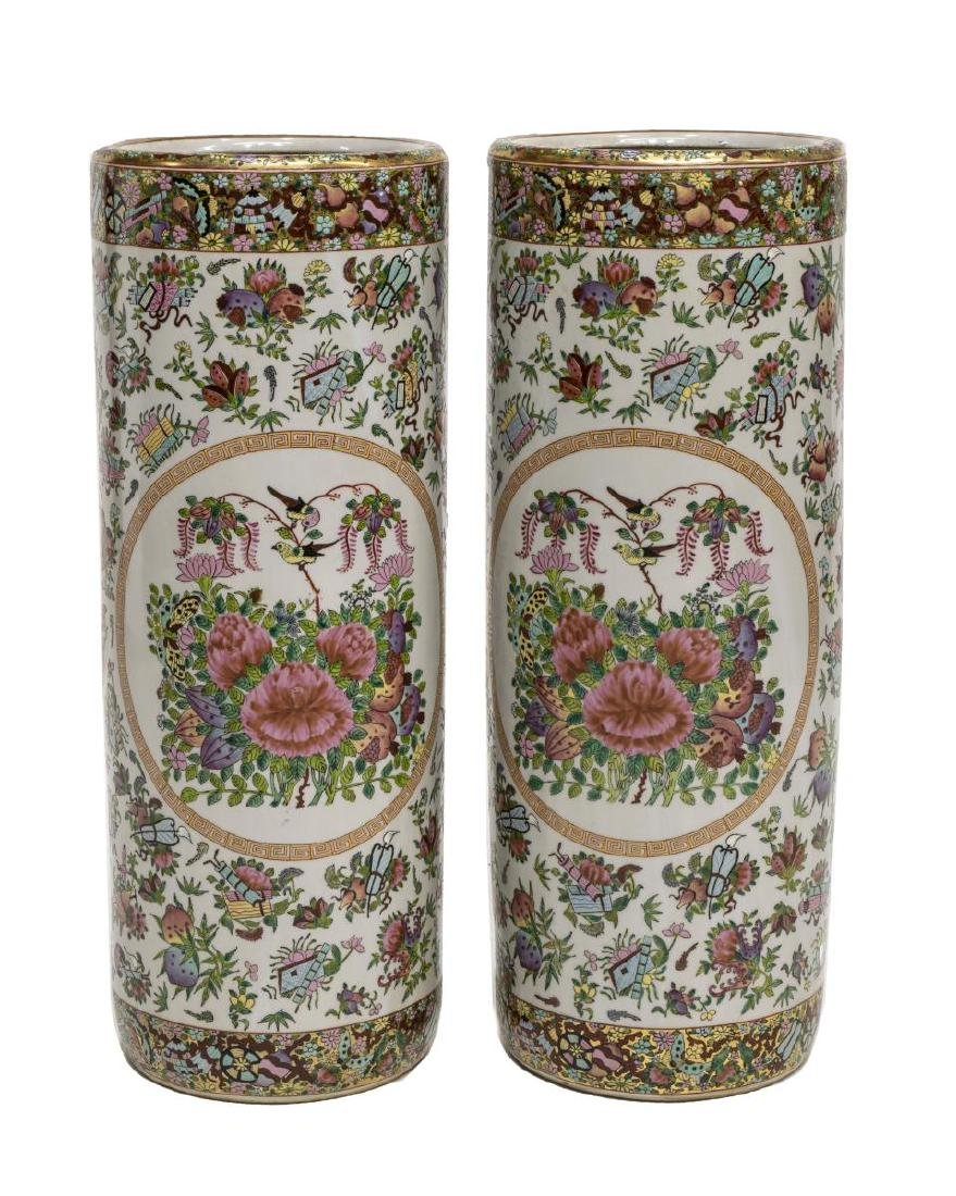 (2) CHINESE FAMILE ROSE PORCELAIN UMBRELLA STANDS