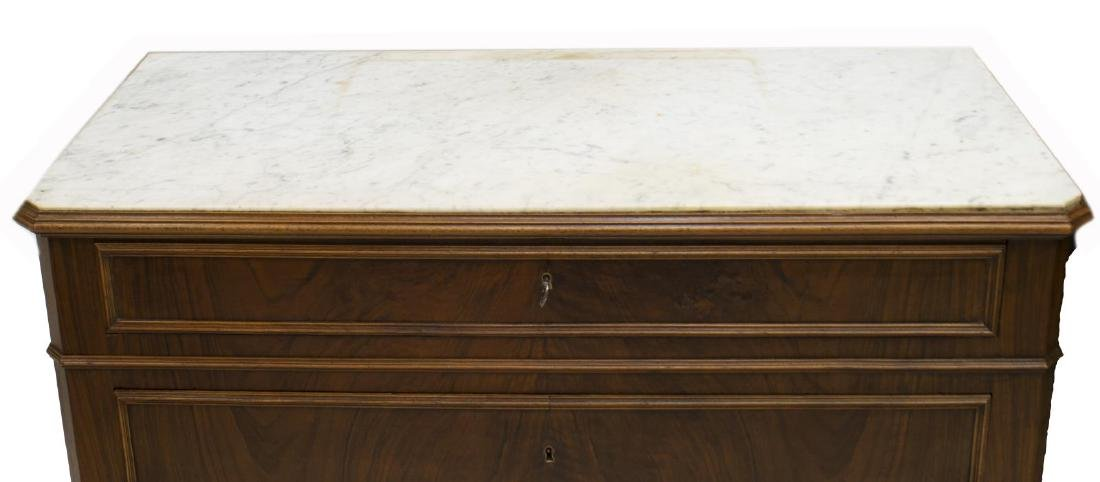FRENCH LOUIS PHILIPPE MARBLE TOP COMMODE - 2