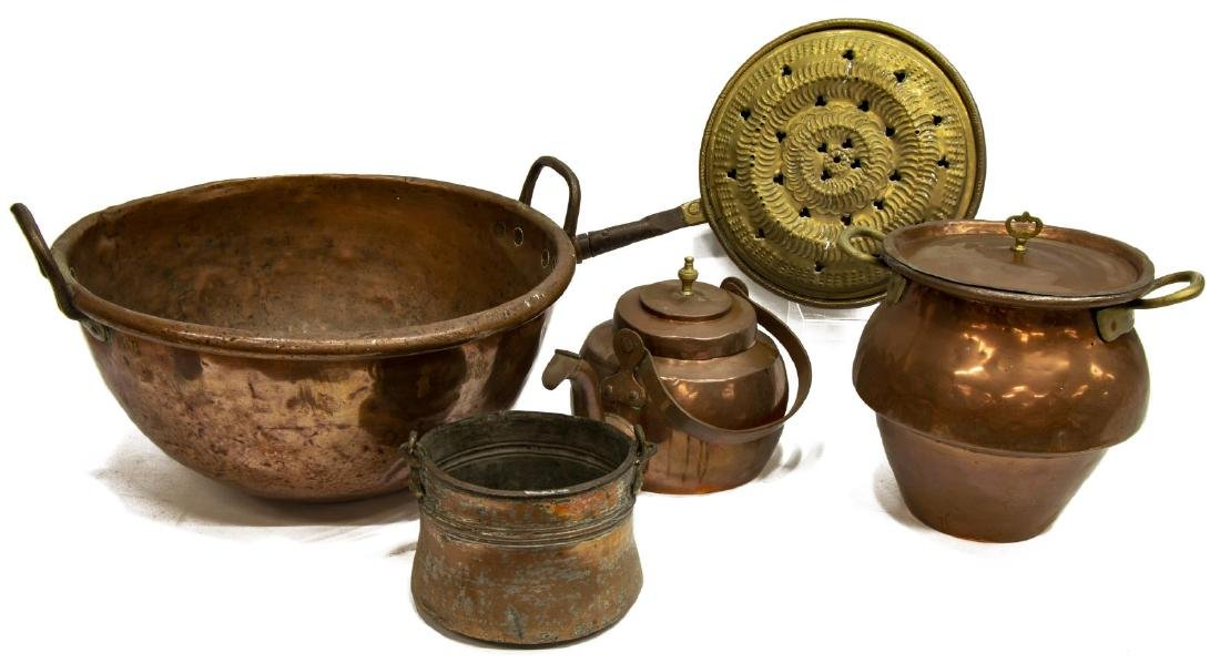 (5) COLLECTION OF CONTINENTAL COPPER & METALWARE