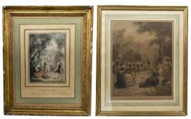 2 FRAMED FRENCH JANINET ENGRAVING AFTER WATTEAU