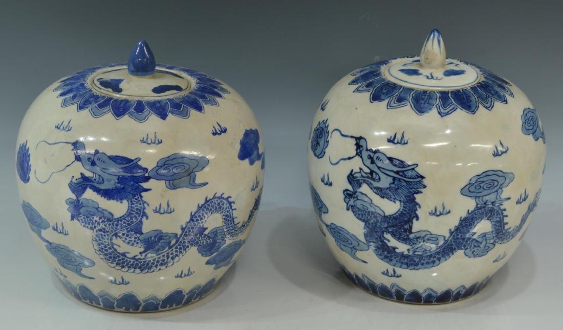 2)CHINESE BLUE & WHITE PORCELAIN LIDDED MELON JARS