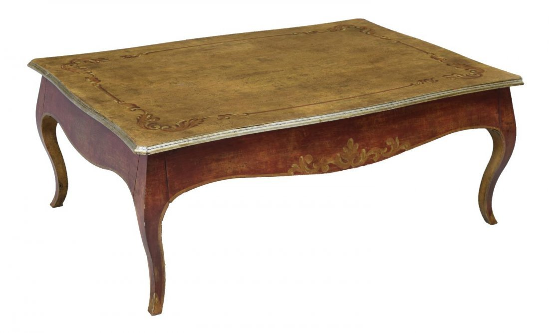 LOUIS XV STYLE PARCEL GILT DRAW LEAF COFFEE TABLE