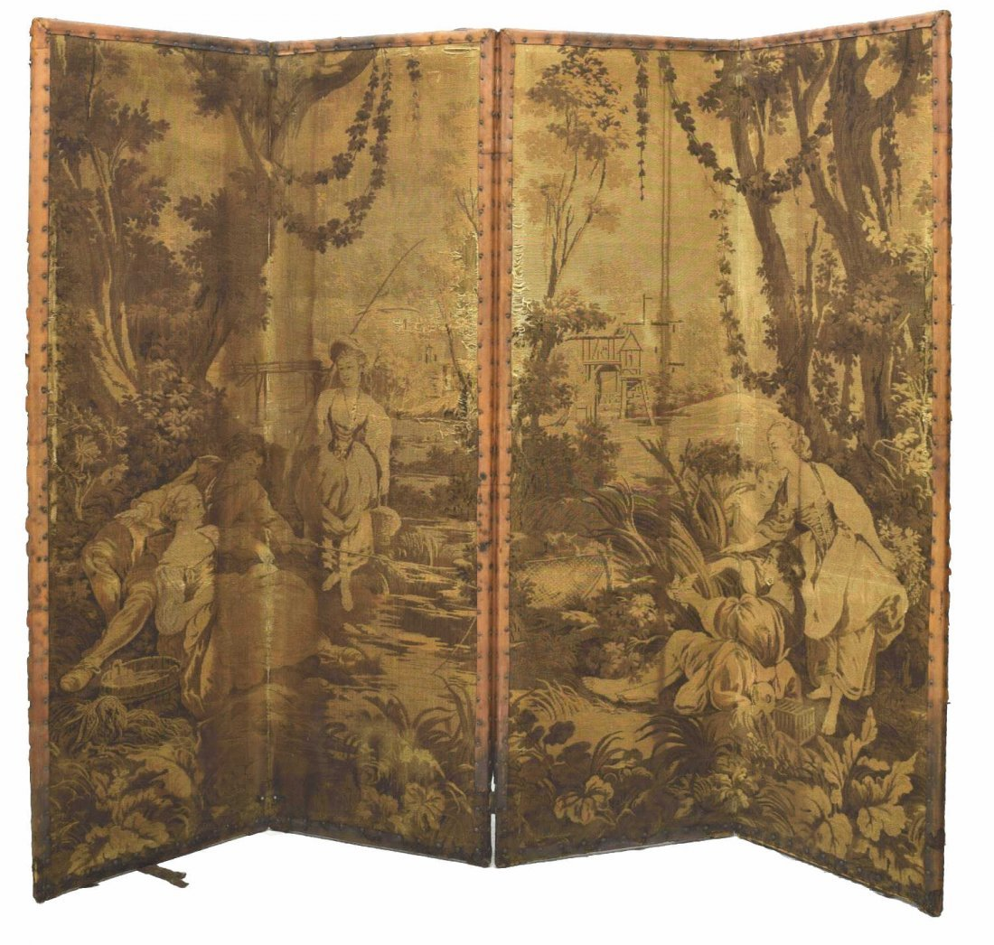FRENCH STYLE TAPESTRY FOUR-PANEL DRESSING SCREEN