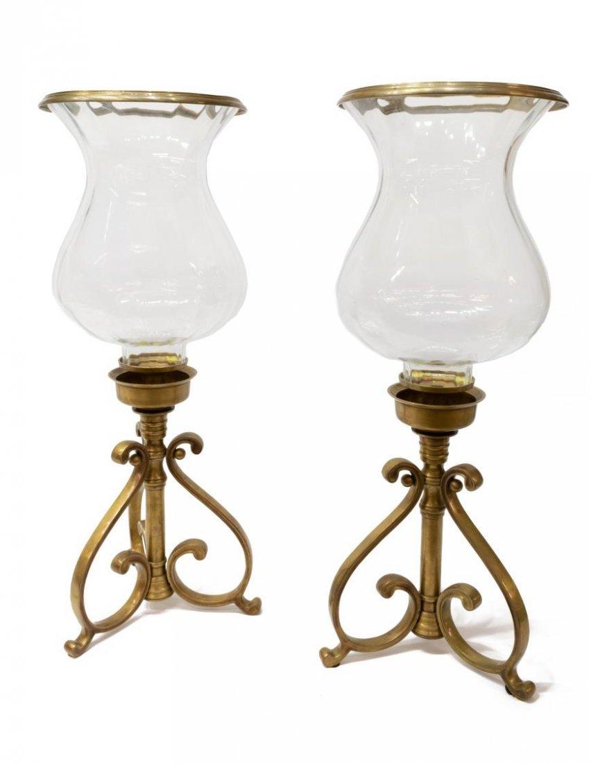 (PAIR) DECORATIVE CANDLE HURRICANE LAMPS