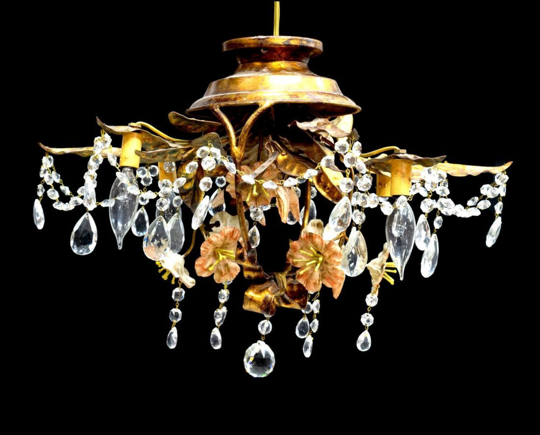 VINTAGE FOUR-LIGHT FLOWER BASKET CHANDELIER