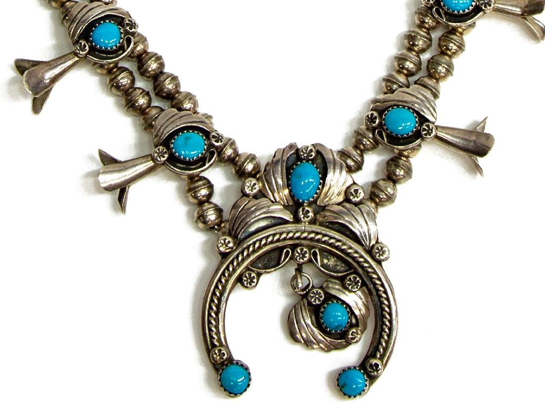 M. PAYTON NAVAJO STERLING SQUASH BLOSSOM NECKLACE