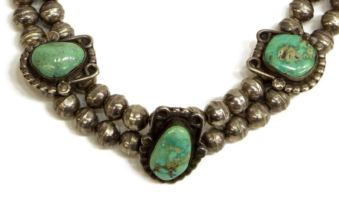 NATIVE AMERICAN SILVER & TURQUOISE CHOKER NECKLACE