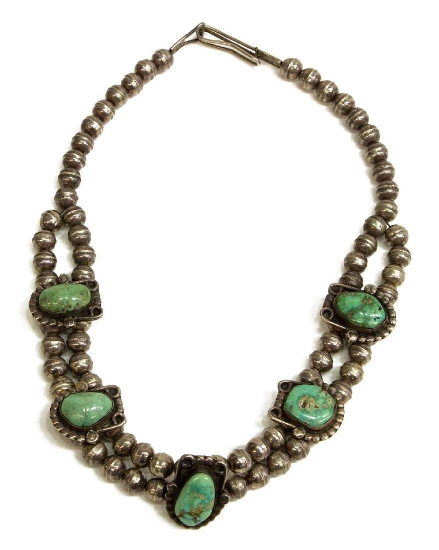 NATIVE AMERICAN SILVER & TURQUOISE CHOKER NECKLACE - 2