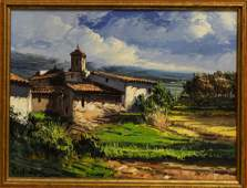 JOSE VIVES-ATSARA (1919-2004) FRAMED OIL PAINTING