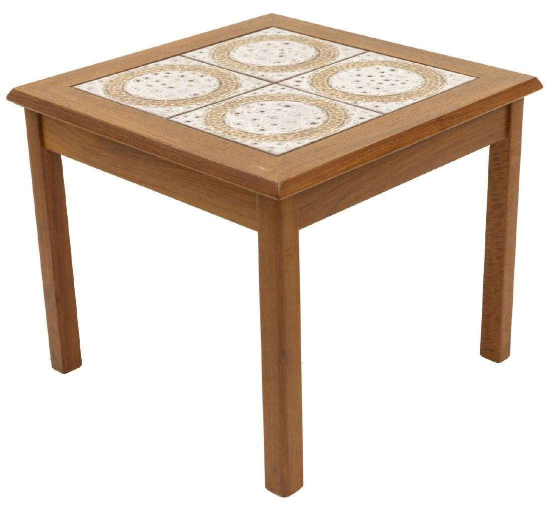 DANISH MID-CENTURY MODERN TILE TOP SIDE TABLE