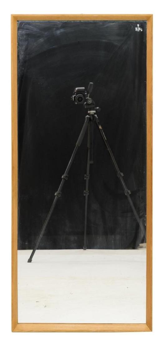 DANISH MID-CENTURY MODERN OAK FRAMED WALL MIRROR - 2