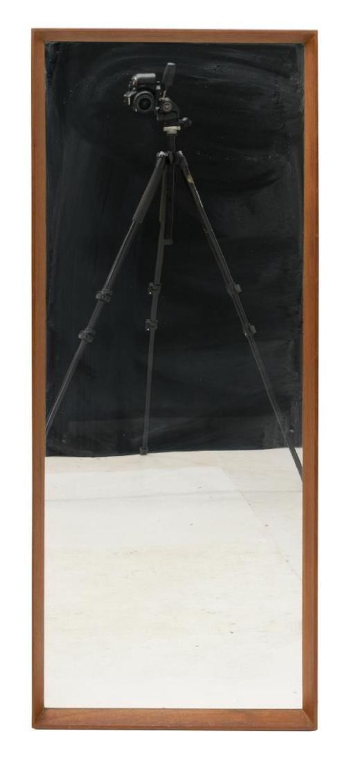 DANISH MID-CENTURY MODERN TEAK FRAMED WALL MIRROR - 2