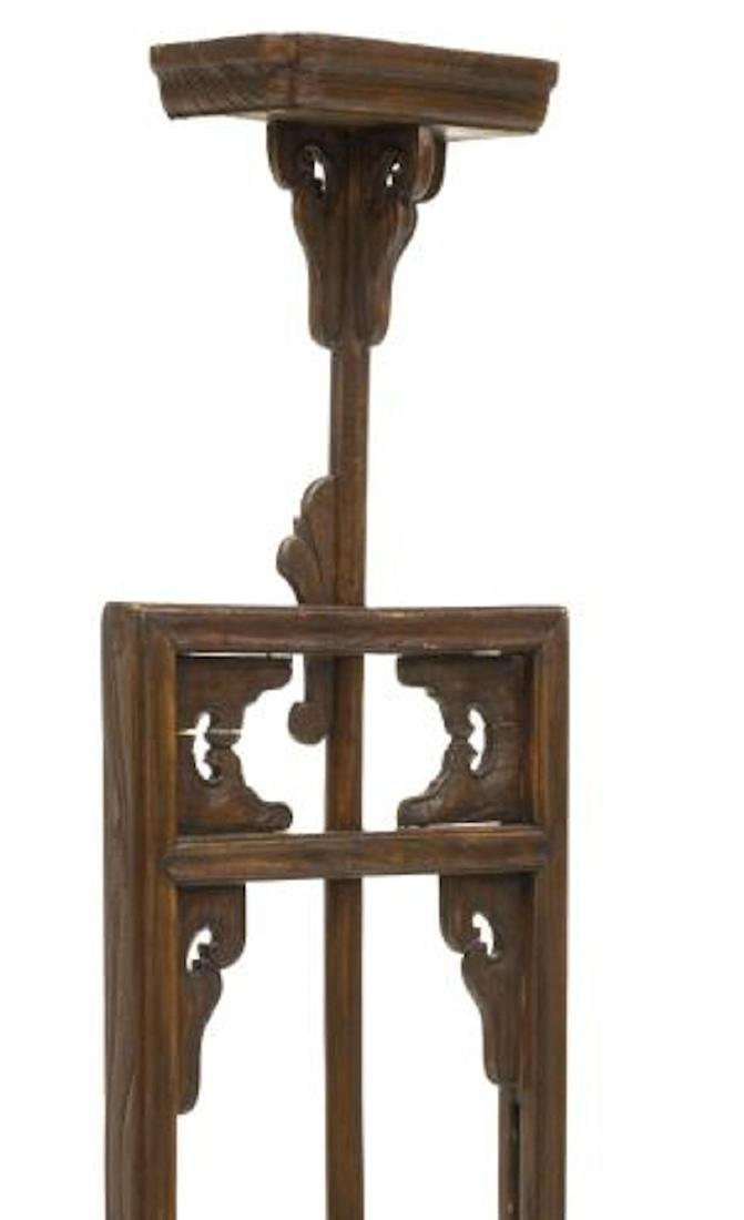 CHINESE HARDWOOD ADJUSTABLE CANDLE LAMP STAND - 3