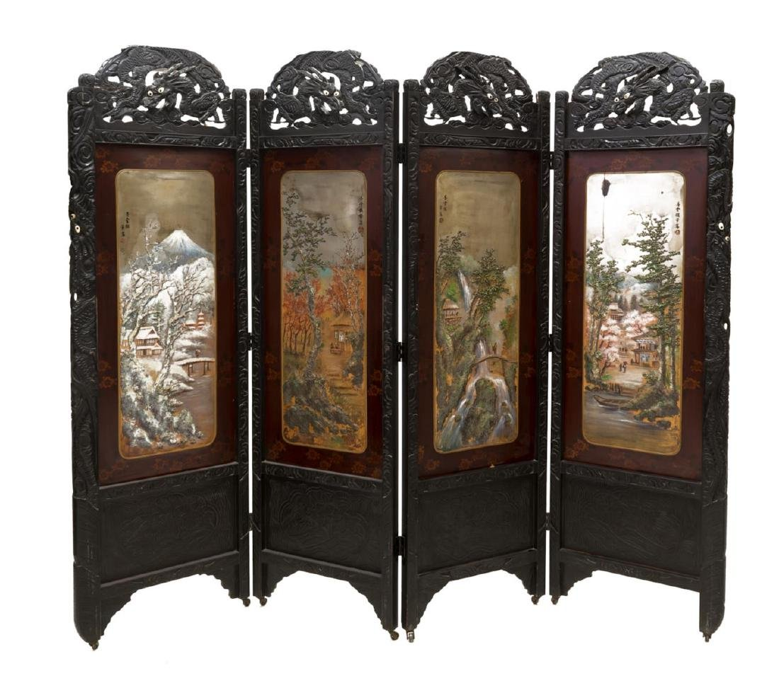 JAPANESE CARVED AND PAINTED FOLDING SCREEN