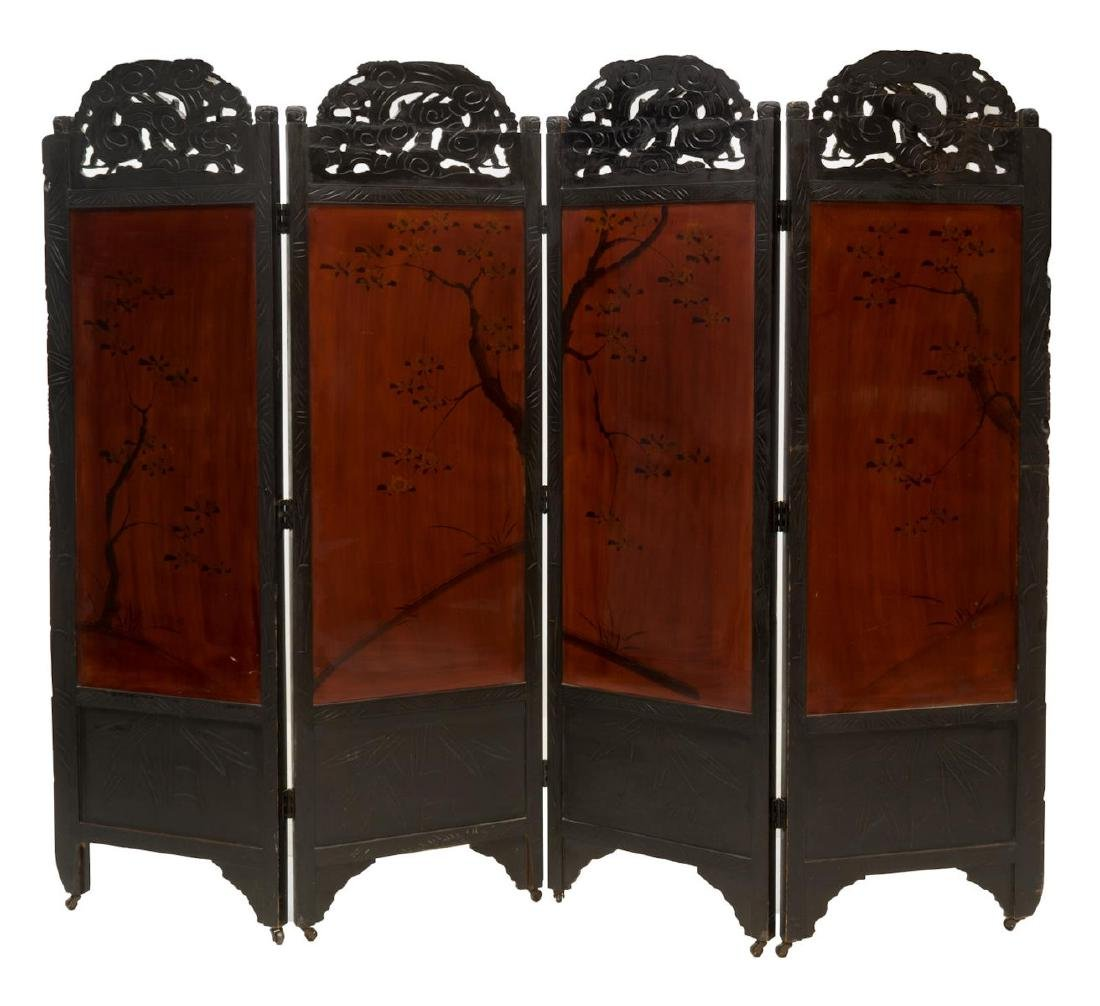 JAPANESE CARVED AND PAINTED FOLDING SCREEN - 2