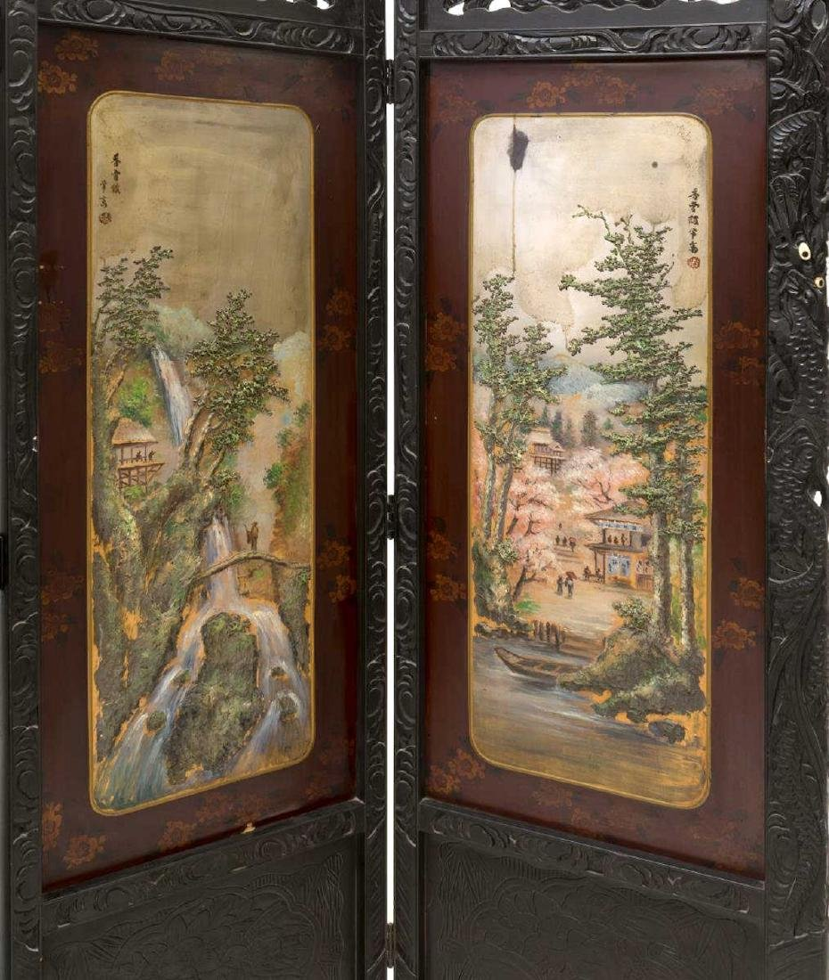 JAPANESE CARVED AND PAINTED FOLDING SCREEN - 3