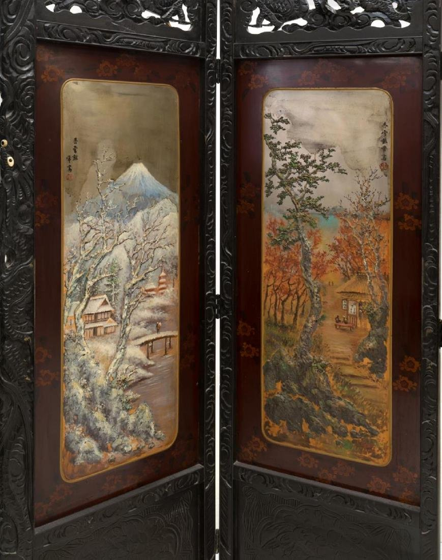 JAPANESE CARVED AND PAINTED FOLDING SCREEN - 4