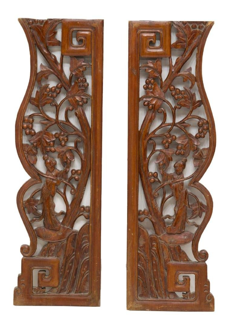 (PAIR) CHINESE ELMWOOD ARCHITECTURAL PANELS